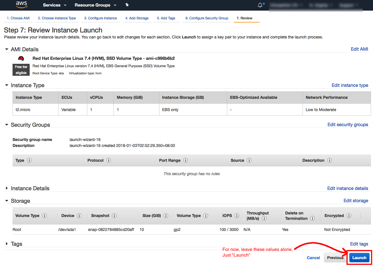 AWS Tutorial Page 6